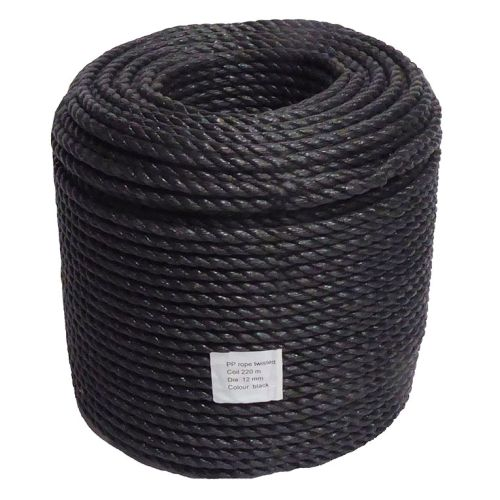 16mm Black Polypropylene Rope sold on a 220m coil