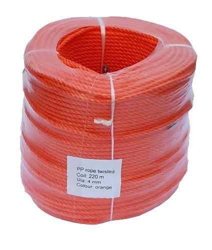 4mm Orange Polypropylene Rope - 220m coil