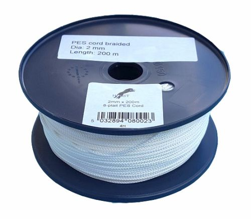 2mm x 200m White 8-plait Polyester Cord