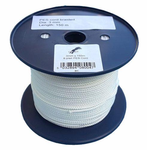3mm x 150m White 8-plait Polyester Cord