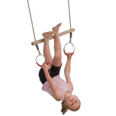 Hardwood Trapeze with Metal Rings